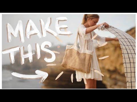 DIY: Easy Minimal Tote Bag (Beach/Groceries/Laptop Bag) - YouTube