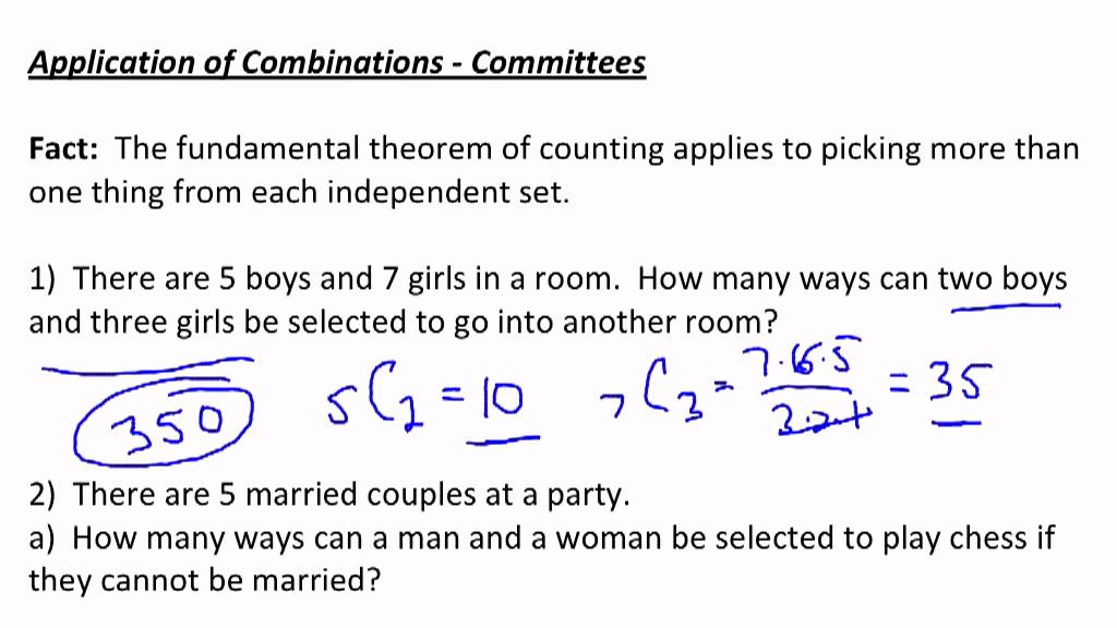 application of combinations committee problems youtube