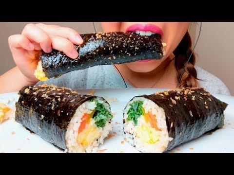 ASMR Korean SUSHI Roll KIMBAP 김밥 먹방 GIMBAP *No Talking* Eating Sounds