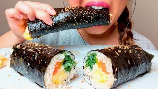 ASMR Korean SUSHI Roll KIMBAP 김밥 먹방 GIMBAP *No Talking* Eating Sounds