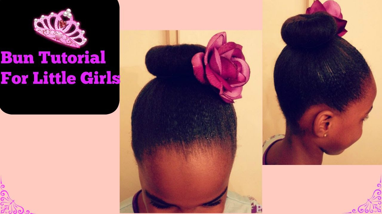 Bun For Little Girls Natural Hair Tutorial Youtube