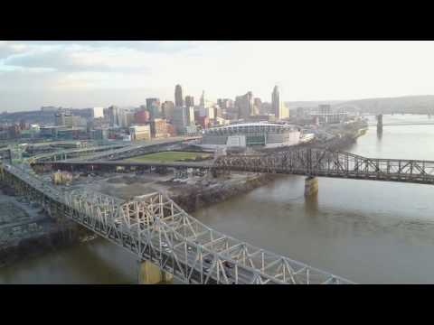 Epic Drone tour of Downtown Cincinnati, Paul Brown Stadium,  Great American Ball Park