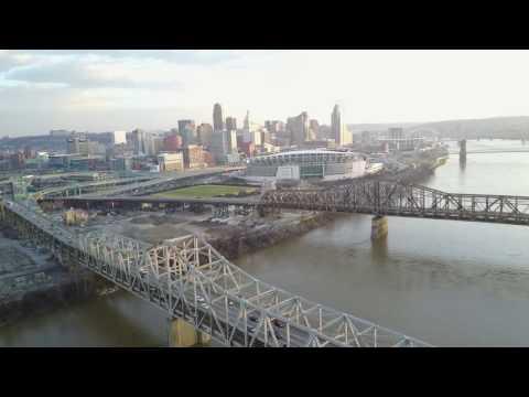 Epic Drone Tour Of Downtown Cincinnati, Paul Brown Stadium,  Great American Ball Park