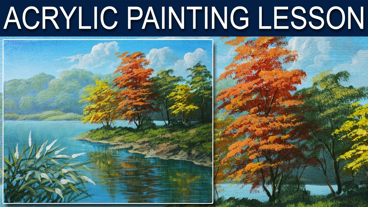 Acrylic landscape painting tutorial autumn in the river for How to start acrylic painting