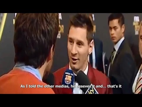 Messi congratulates Cristiano Ronaldo on Ballon d'Or [English Sub]