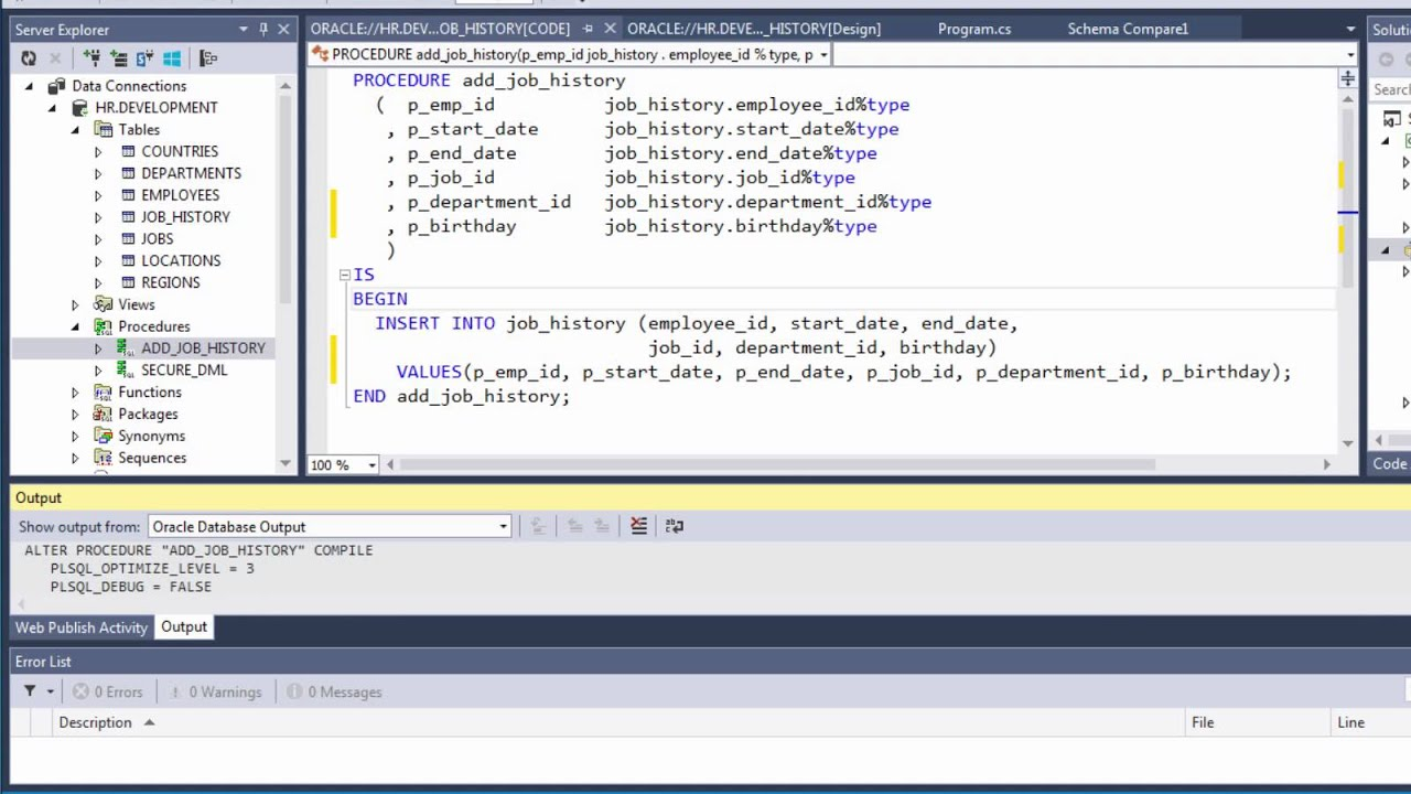 Oracle Schema Compare Tools and SQL Deployment Script Generation in Visual Studio - YouTube