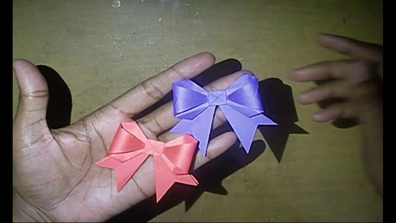 Origami - How to Fold a Paper Bow/Ribbon - Cute Bow ... - photo#43
