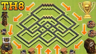 CLASH OF CLANS | NEW TH8 TROPHY / TRAP BASE WITH BOMB TOWER | TOWN HALL 8 TROPHY / TRAP BASE!