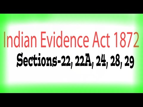 Indian Evidence Act, 1872 :: Section - 22, 22A, 24, 28, 29