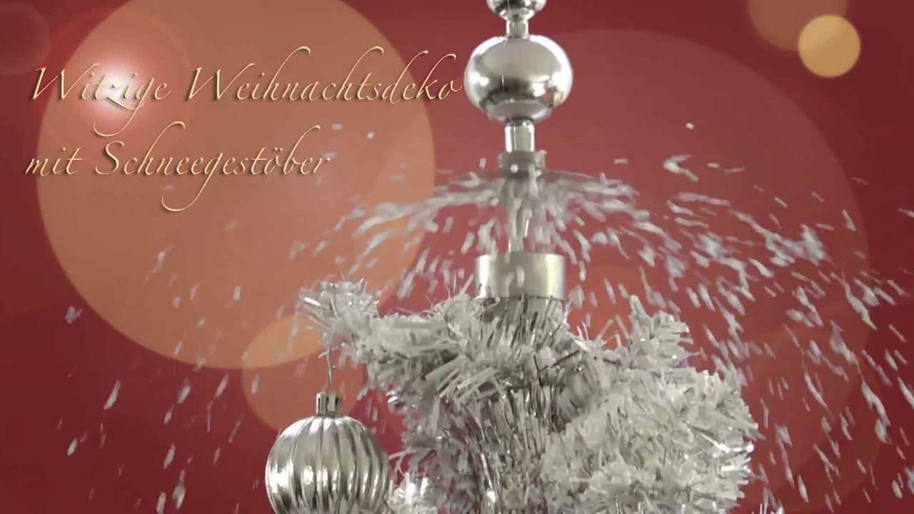 weihnachtsbaum mit schneefall led deko gr n silber youtube. Black Bedroom Furniture Sets. Home Design Ideas
