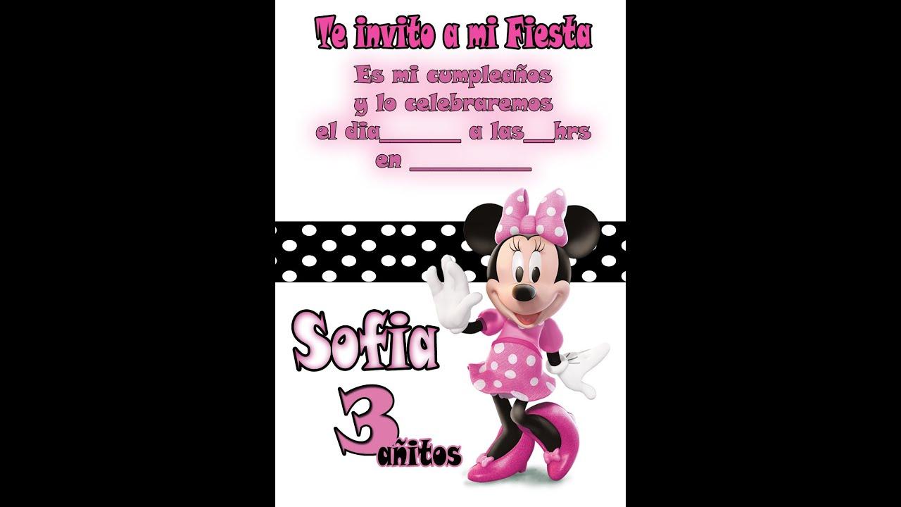 Invitación De Cumpleaños Minnie Mouse Youtube