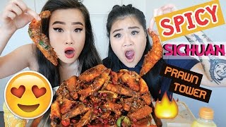 SPICY SICHUAN SHRIMP TOWER | MUKBANG | EATING SHOW