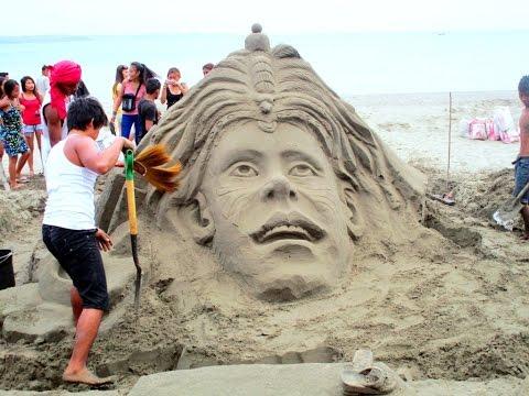 20th Annual Sand Sculpture Event, Villa Beach, Iloilo Philippines.  Filipino and Filipina artisans~