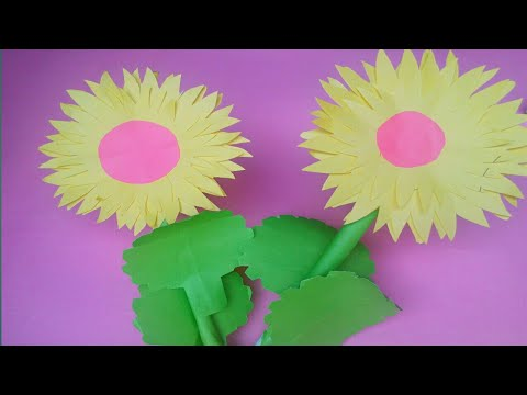 How To Make Paper Sunflower|Making Paper Flowers Step by Step|Paper Crafts
