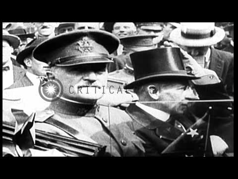 World War I. Armistice at 11AM on November 11, 1918, ends hostilities. Celebratio...HD Stock Footage