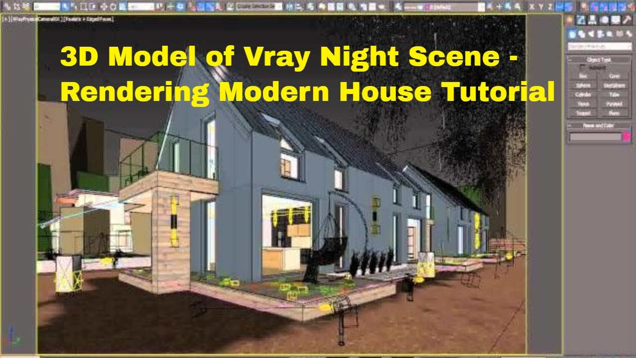 3d Model Of Vray Night Scene Rendering Modern House