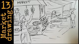 how to draw market for competitions | drawing in 2 minutes | market drawing sketch
