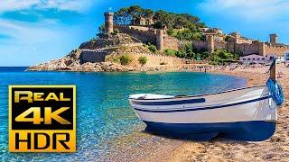 Stunning Mediterranean Beach in 4K HDR 🌅 Tossa de Mar Spain, Ocean Wave Sounds & Relaxing Music TV