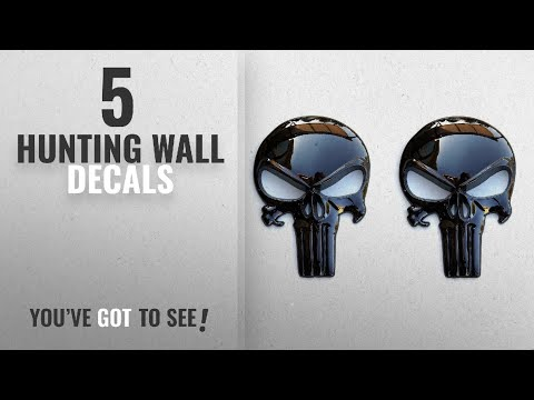 Top 10 Hunting Wall Decals [2018]: Premium Black 3D Metal Decal / Sticker (2 Pack) - Tactical Skull