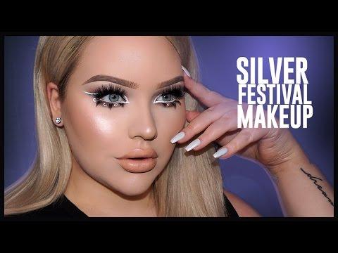 SILVER Glittery & Glowy FESTIVAL Makeup Tutorial