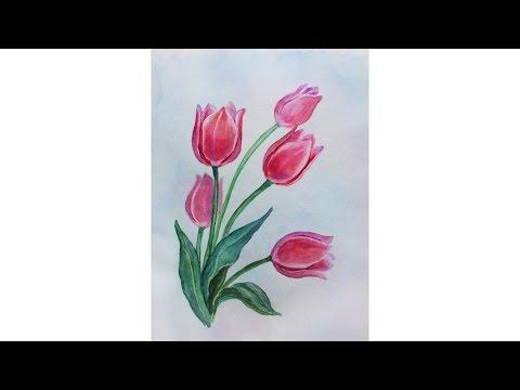 Как нарисовать букет тюльпанов