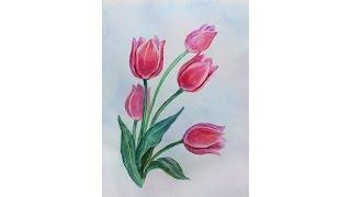Уроки рисования. Как нарисовать ТЮЛЬПАНЫ букет к 8 МАРТА  how to draw tulip flower(Рисуем тюльпаны акварелью how to draw tulip flower ▻ Скачайте видео урок