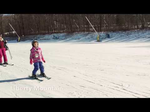 Laura-Rae skiing the First Class Slope at Liberty Mountain.