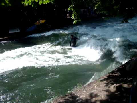 Surfing on the River Eisbach, Munich, Bavaria Germany