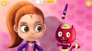 Мультфильм для детей, как кошки с хозяйкой пьют кофе и чай. Детский макияж розовые волосы.