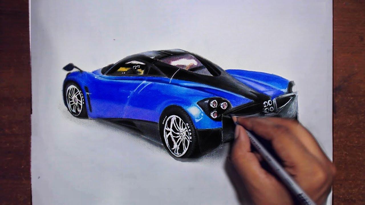 Drawing Cars 3 - Pagani Huayra - Prismacolor pencils ...