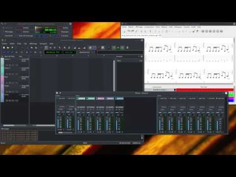 Multitrack recording with TuxGuitar, Guitarix, QSynth, Hydrogen and QTractor.