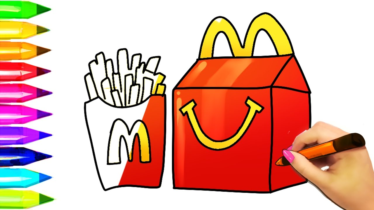 How To Draw Mcdonald S Burger And Fries Kids Happy Meal Learn