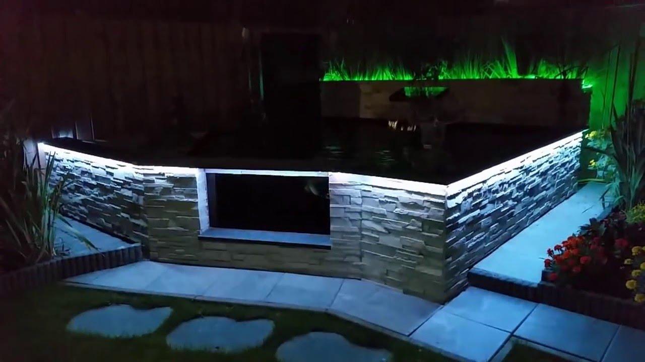 Koi vijver met verlichting - YouTube