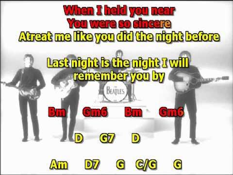 the night before beatles best instrumental karaoke lyrics chords