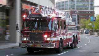 Boston Fire Department Ladder 24 Responding X 2, Q-Siren, Air Horn