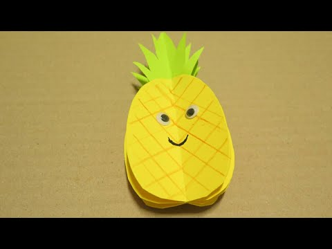3D Paper pineapple Crafts : How to make Paper Pineapple Easy DIY   Paper Fruit