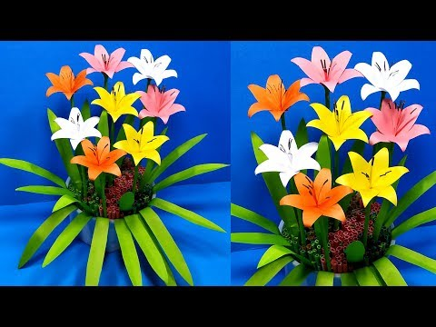 How to Make Beautiful Paper Lily Flowers!! Paper Flower Lily for Decoration!Jarine's Crafty Creation