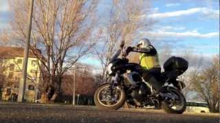Kawasaki Versys 2007 first day, turn practicing, Finster and factory exhaust