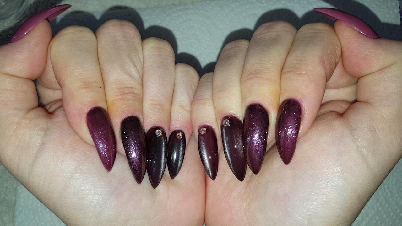 From Vintage Pink To Rawr Cat Eye Nails ❤ Pointy Almond Acrylic ...