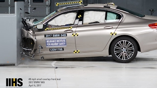 2017 BMW 540i Small Overlap crash test at IIHS (Behind The Scenes)