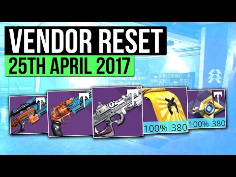 Destiny | WEEKLY VENDOR RESET! - Best Vendor Weapons & All 100% Stat Roll Armor! (25 April  - 2 May)