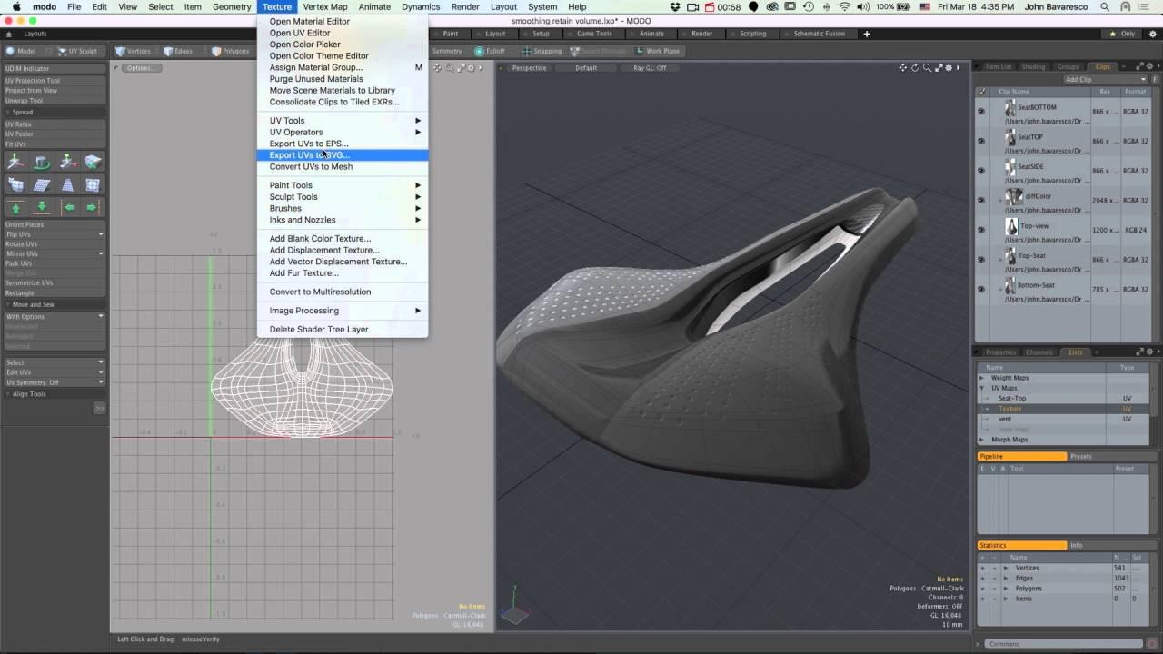 MODO 10 Quick Clip -- UVs to SVG
