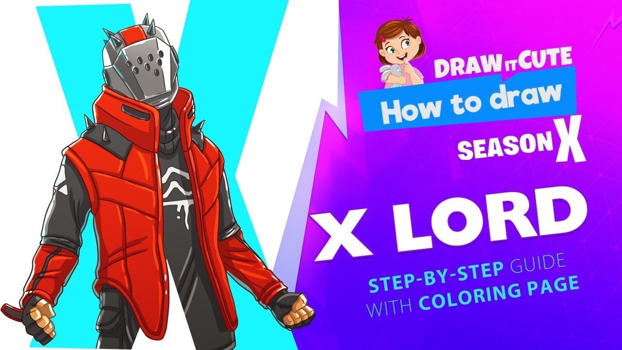 How To Draw X Lord Fortnite Season 10 Step By Step
