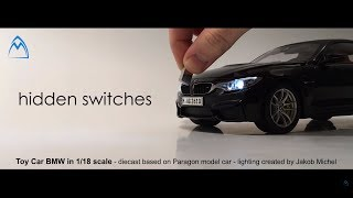 BMW M4 1/18 toy miniature diecast car LED custom package model araba Paragon