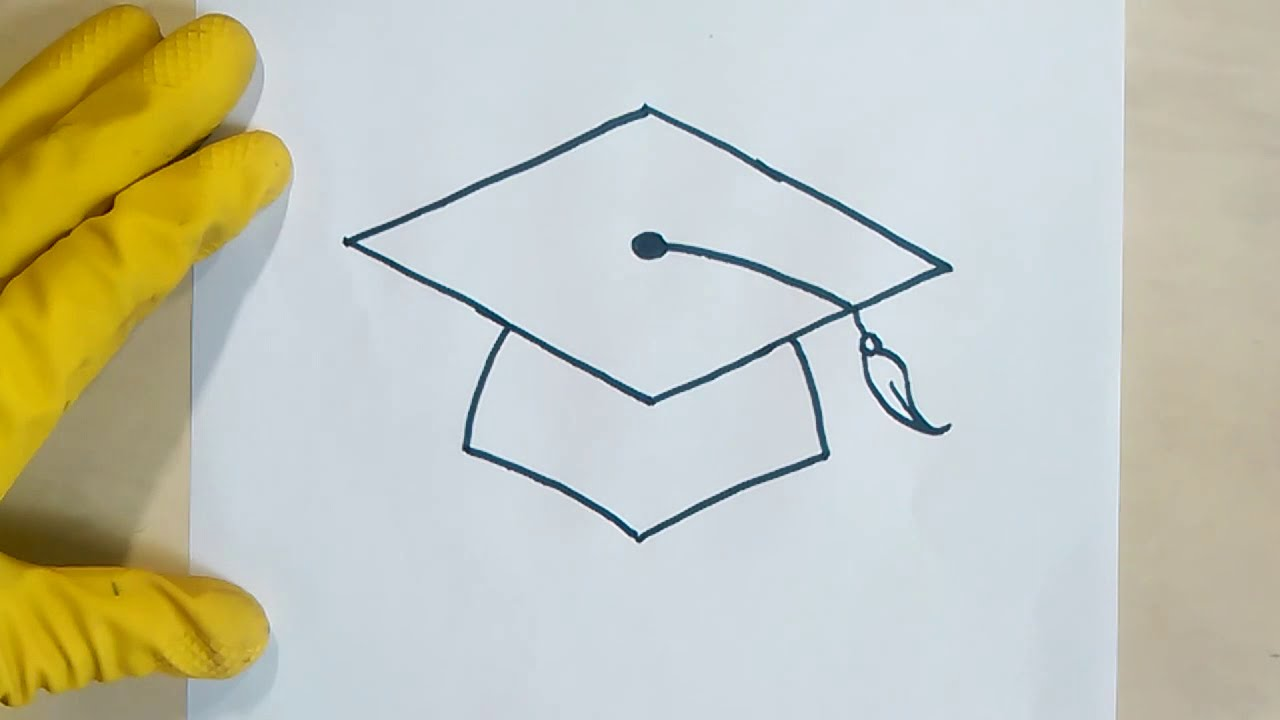 Step By Instructions For How To Draw A Graduation Cap Hat Real Easy Cake Scroll Highschool College Youtube