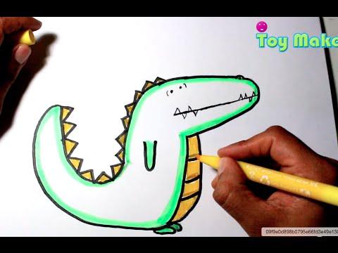 Dibujando Un Cocodrilo De Caricatura Para Ninos Y Ninas Youtube