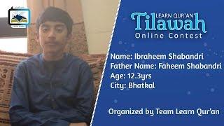 Ibraheem Shabandri S/o Faheem Shabandri   Learn Qur'an Tilawah - Online Contest, Bhatkal