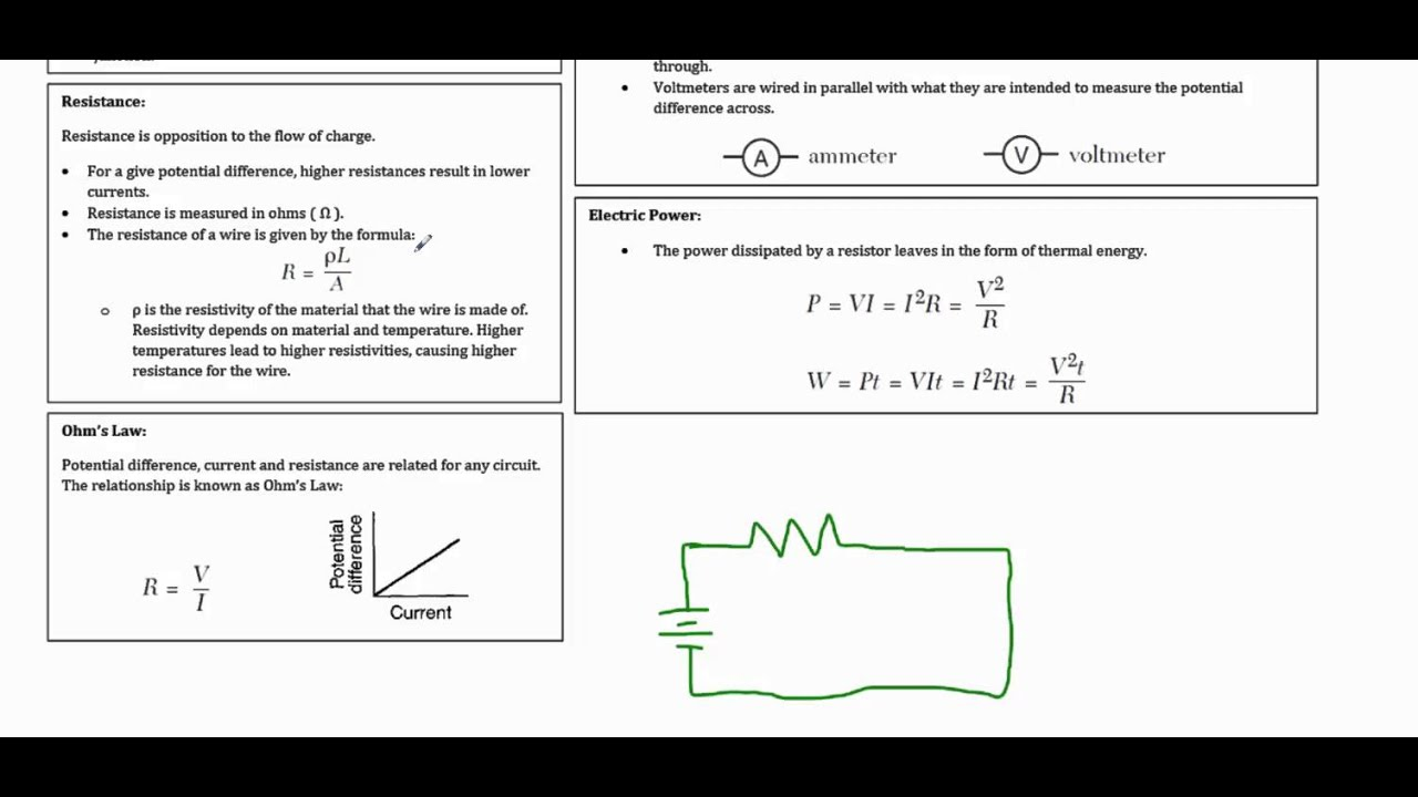 Regents Physics Review Electricity Review Part 1 Basic Electricity