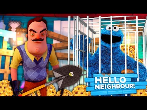 Minecraft HELLO NEIGHBOR - THE NEIGHBOR HAS KIDNAPPED THE COOKIE MONSTER IN HIS BASEMENT!!
