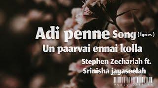 Adi penne song || un paarvai ennai kolla ( lyrics )|| Stephen Zechariah ft. srinisha jayaseelah